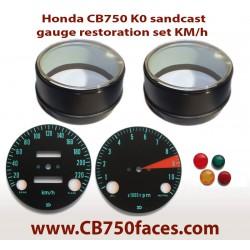 Honda CB750 K0 gauge restoration set KILOMETERS (tacho and speedo)