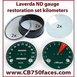 Laverda ND gauge restoration set KM/H (tacho and speedo)