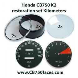 Honda CB750 K2 Zählerrestaurierungsset KILOMETER (Drehzahlmesser und Tachometer)