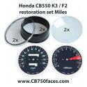 Honda CB550 K3 / F2 restoration set MILES for tacho and speedo gauges