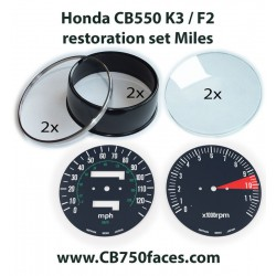 Honda CB550 K3 / F2 restoration set MILES for tacho and speedo gauges