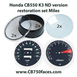 Honda CB550 K3 restoration set MILES for ND version tacho and speedo gauges