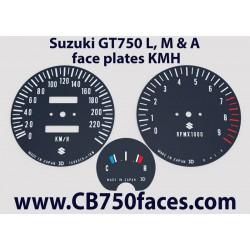 Suzuki GT750 L, M & A face plates kmh
