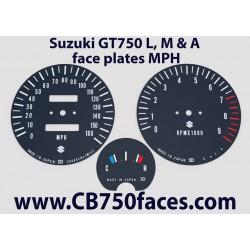 Suzuki GT750 L, M & A face plates mph